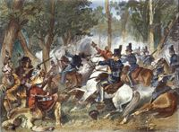 Painting of soldiers fighting at the Battle of Canada Tecumseh