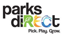 "logo for parks direct with the R, E, and C in the word ""direct"" colored in green, yellow, and"