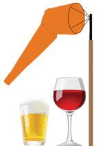 logo of windsock with glass of wine and glass of beer