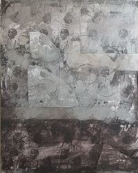Abstract painting of gray and brown with repeated imagery of a Black boy and girl